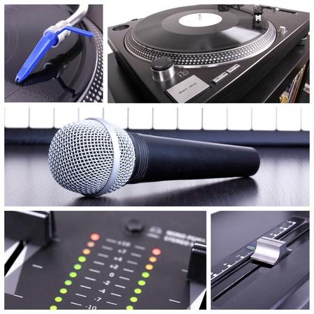 Karaoke equipment. Microphone, piano and dj tools photo