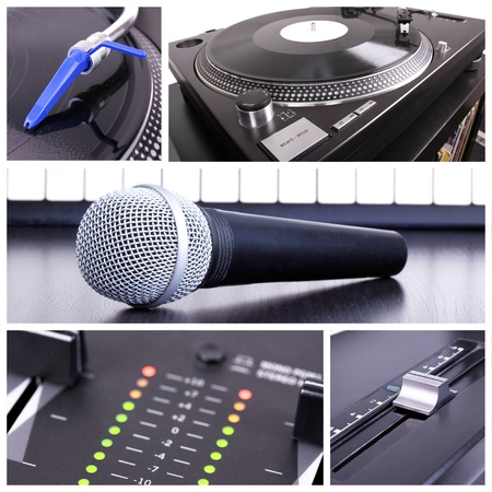Karaoke equipment. Microphone, piano and dj tools