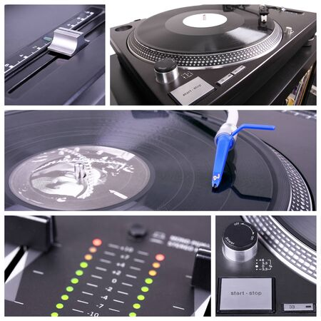Dj table collage. Turntable and mixer closedup parts photo