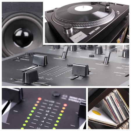 Dj equipment collage. Turntable and mixer parts photo