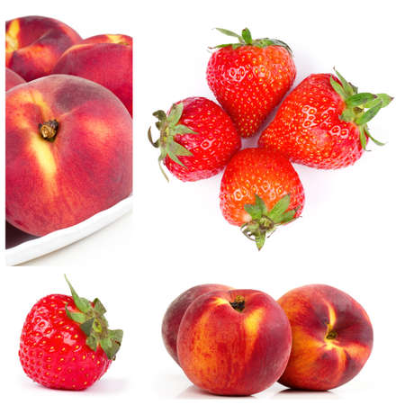 Fruits collage. Strawberry and nectarines parts photo