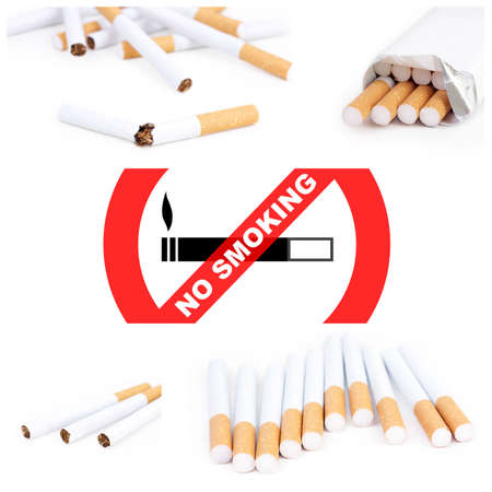 No smoking collage with cigarettes Stock Photo - 8861397