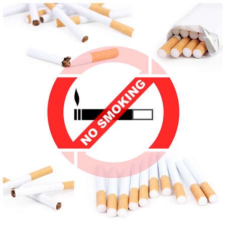 smoldering: No smoking collage with cigarettes