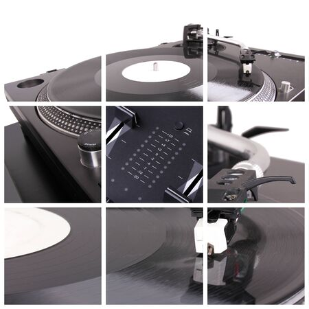 Dj turntable collage. Closeup parts of turntable photo