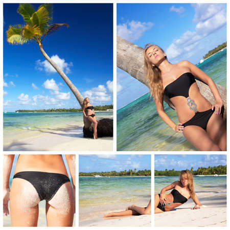 Caribbean beach collage with sexy woman