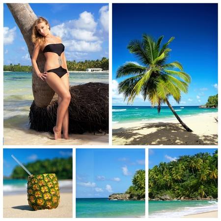 Collage with woman in bikini on caribbean beach photo