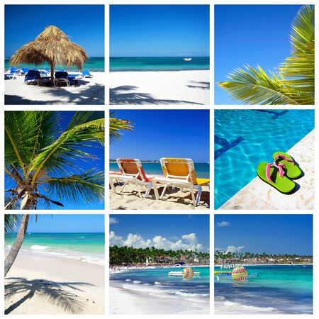 Caribbean collage. Beach with palm and grass umbrella photo