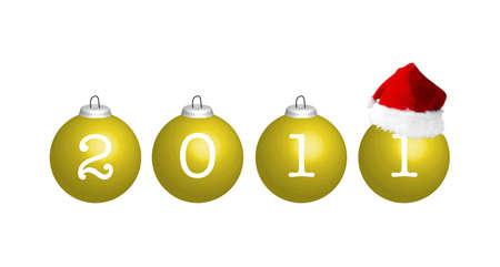 christmasball: Christmas balls with number 2011 and Santas hat, illustration