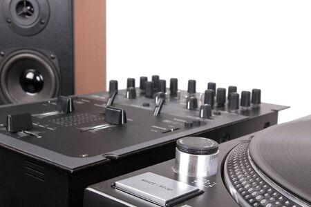 Dj equipment on black table, closeup  photo