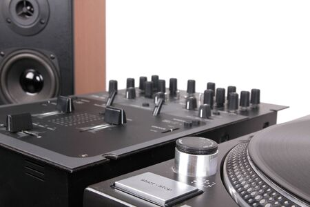 audio mixer: Dj equipment on black table, closeup