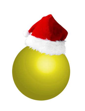 christmasball: Santa hat on yellow new year ball