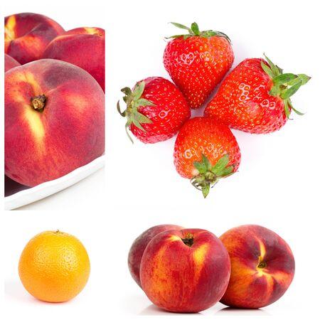 Fruits collage. Strawberry, orange and nectarines parts photo