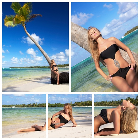 Collage with young woman on caribbean beach