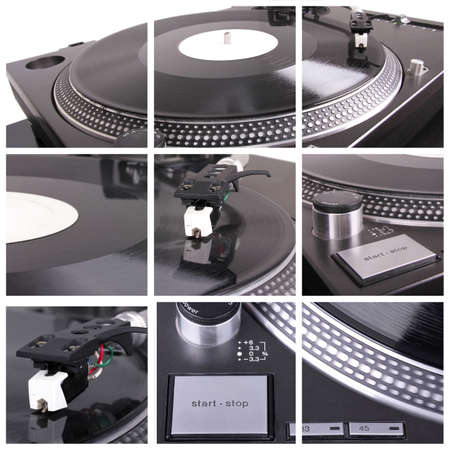 gramophone: Dj tools collage. Closeup parts of turntable