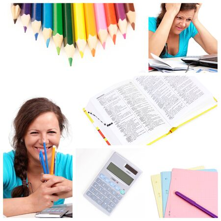 Education collage with girl ana office tools photo