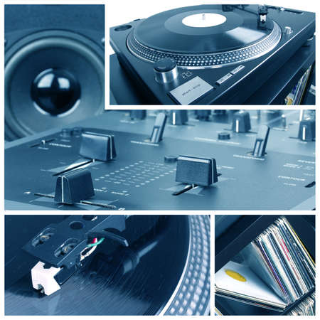 Dj equipment collage. Turntable, records and mixer parts photo
