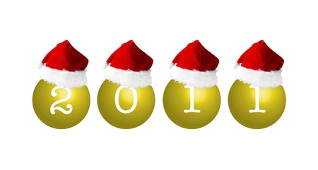 christmasball: Christmas balls with number 2011 and Santas hat, illustration