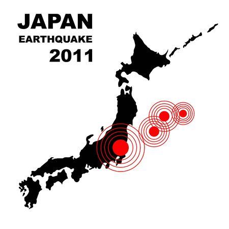 ideogram: Earthquake and tsunami on Japan island, illustration