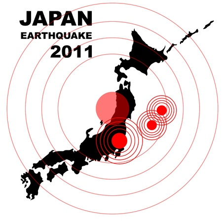 Earthquake and tsunami on Japan island, illustration
