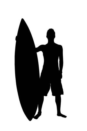 surfer silhouette: Silhouette of surfer with surf board