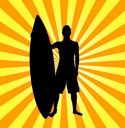 Illustration of surfer on stripes background  illustration