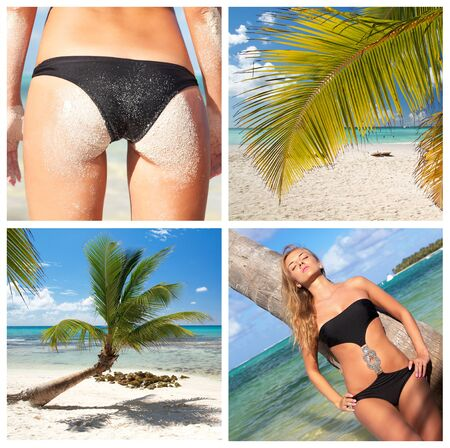Tropical beach collage with sexy woman  photo