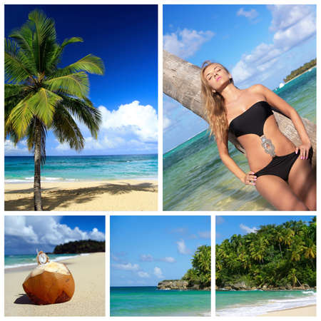 Caribbean collage. Relaxing woman and palm on beach photo