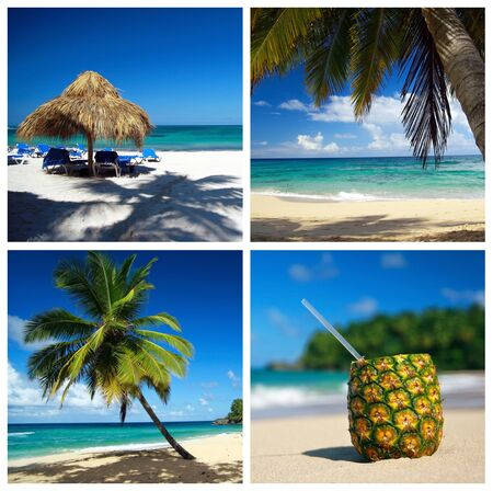 Caribbean collage with palm and tropical beach photo