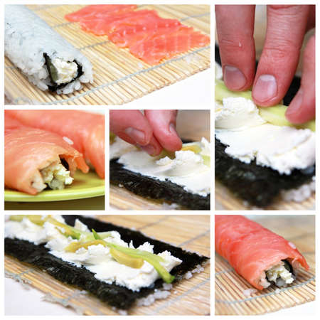 Collage preparation of sushi roll photo