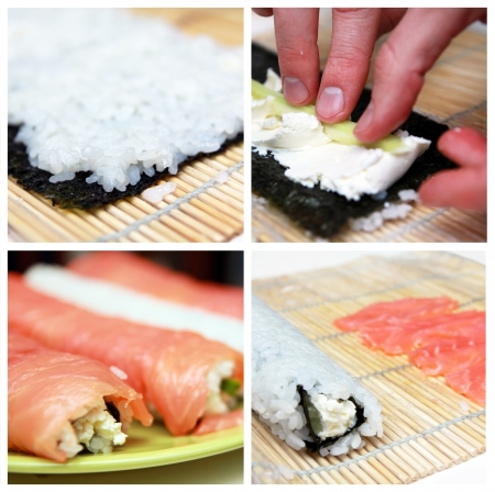 california roll: Collage of preparation  sushi roll Stock Photo