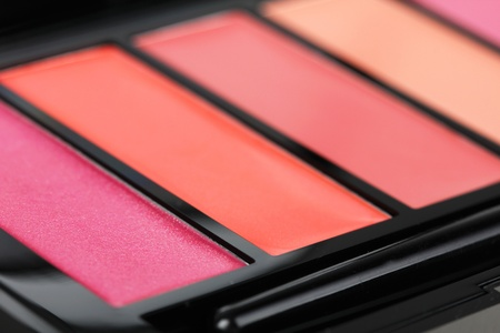 Make-up palette with lipgloss, macro shot photo