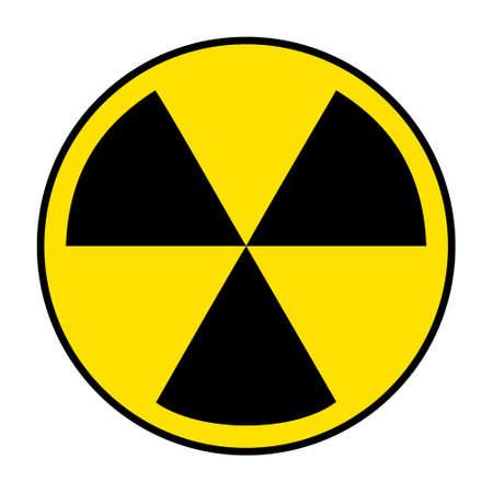 Radiation icon on white photo
