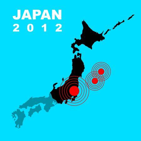 Earthquake and tsunami on Japan island, illustration