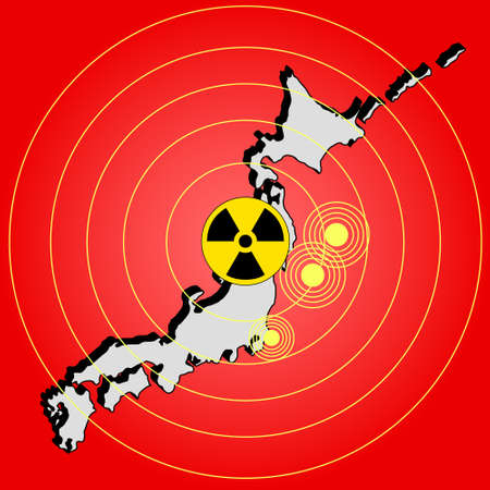 Earthquake and tsunami on Japan island, illustration Stock Illustration - 9462472
