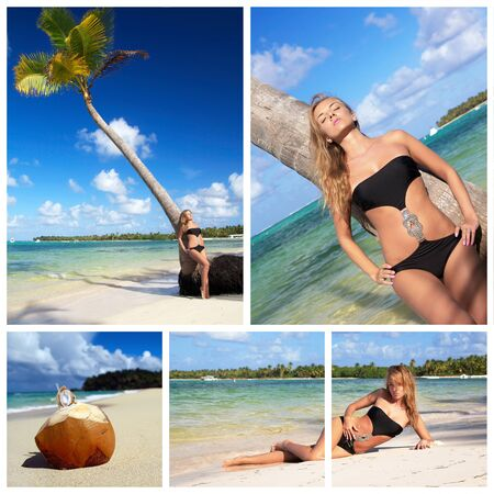 Woman sunbathing on caribbean beach collage