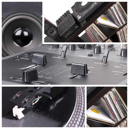 Dj table collage. Turntable and mixer parts photo