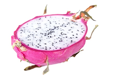 rare: Half of dragon fruit, isolated on white