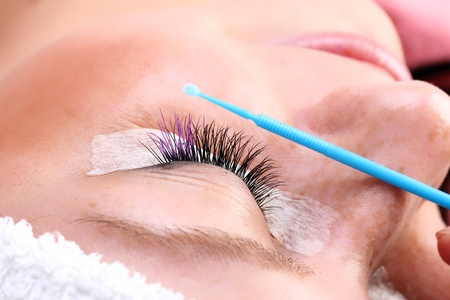 Eyelash making process Stock Photo