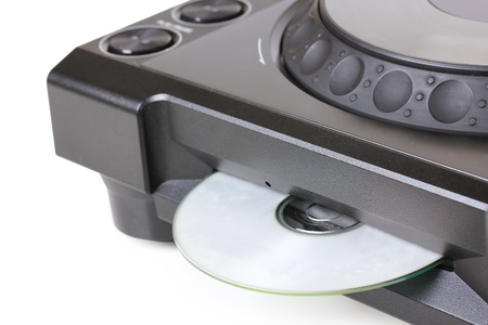 compact disk: Dj cd player with compact disk, closeup on white
