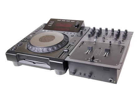 Dj cd player and mixer, isolated on white photo