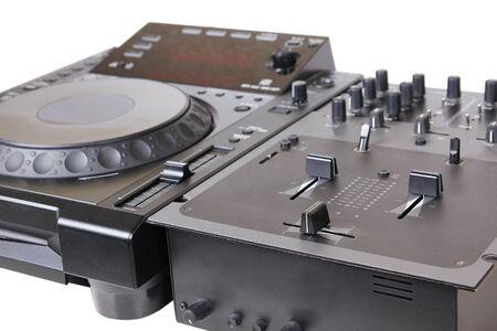 Dj cd player and mixer, closeup on white photo