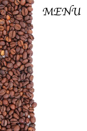 Coffee beans background for menu photo