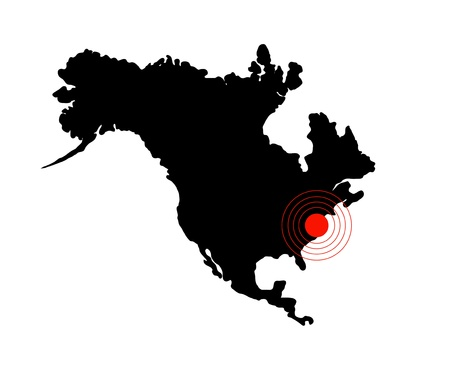 Terremoto de América, el mapa del continente aislado en blanco Foto de archivo - 10452213
