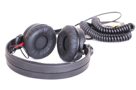 electronica: Professional Dj headphones, isolated on white Stock Photo