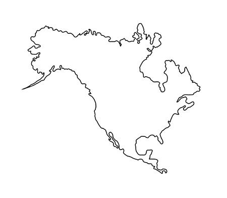 Mapa de América del Norte aislado en blanco