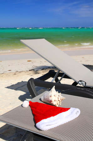 Christmas Celebration on tropical beach photo