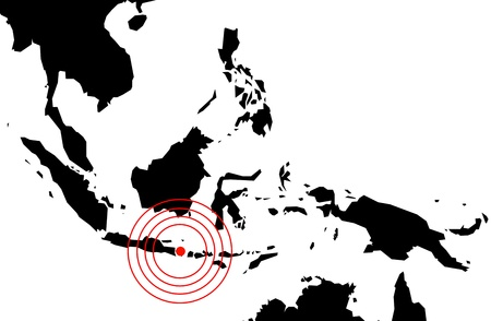 Earthquake in bali, map on white photo