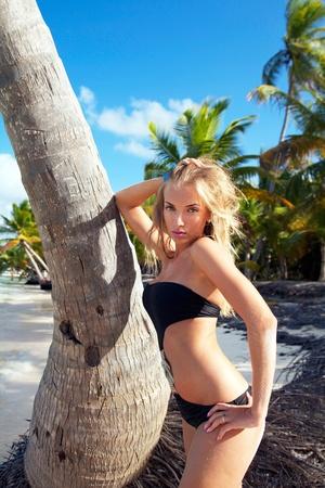 Girl in bikini  on caribbean beach near palm photo