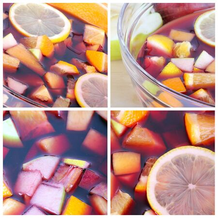 Collage with sangria cocktail, closeup shots photo