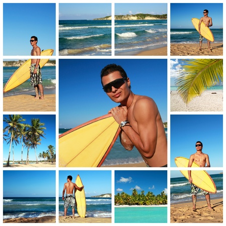 Collage with surfer with surf board on Atlantic ocean, Dominican Republic  Stock Photo - 11318025